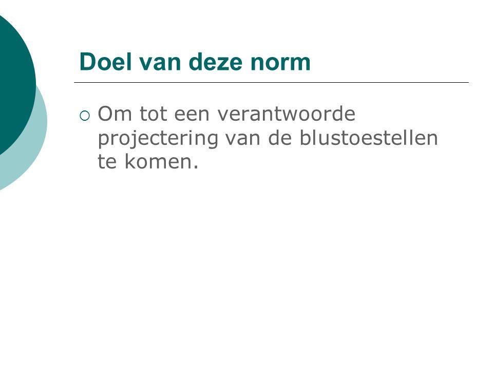 Doel van deze norm  Om tot een verantwoorde projectering van de blustoestellen te komen.