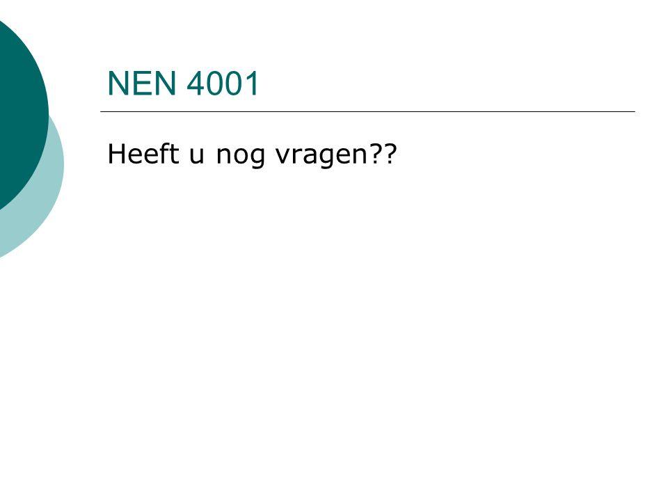 NEN 4001 Heeft u nog vragen??
