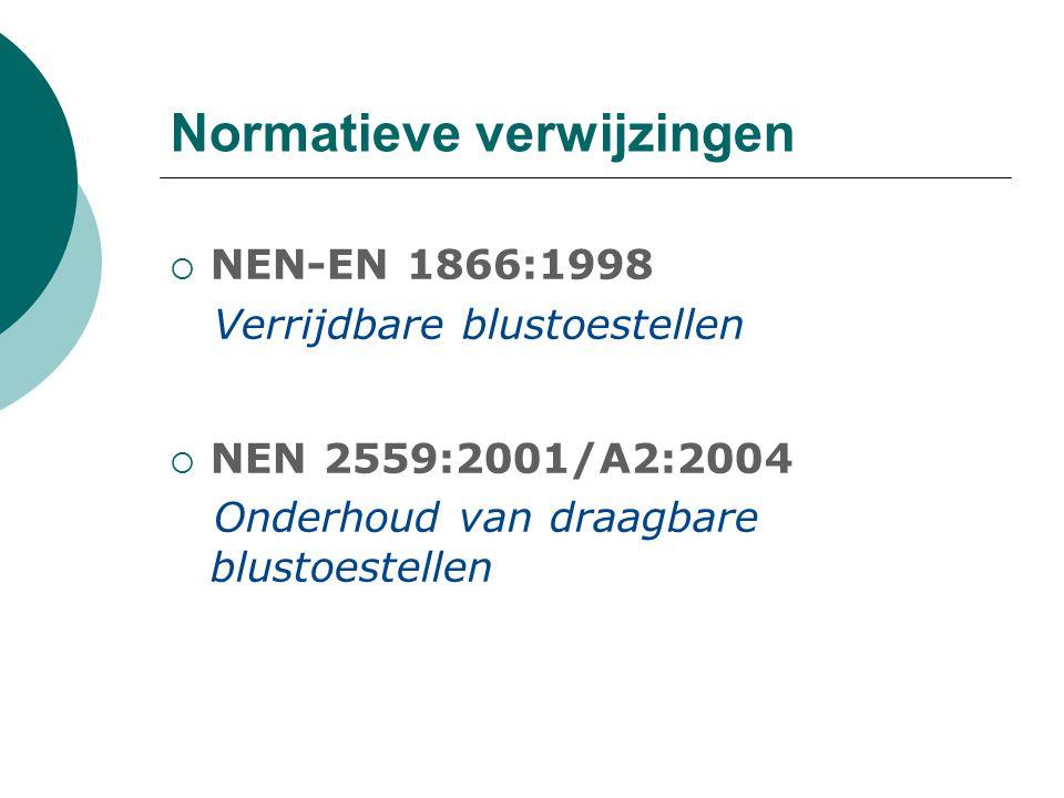Normatieve verwijzingen  NEN 2659:2003/C1:2004 Onderhoud van verrijdbare blustoestellen  NEN 3011:2004 Veiligheidskleuren en -tekens in de werkomgeving en in de openbare ruimte