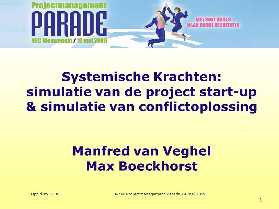 Oppidum 2009IPMA Projectmanagement Parade 19 mei 2009 1 Systemische Krachten: simulatie van de project start-up & simulatie van conflictoplossing Manf