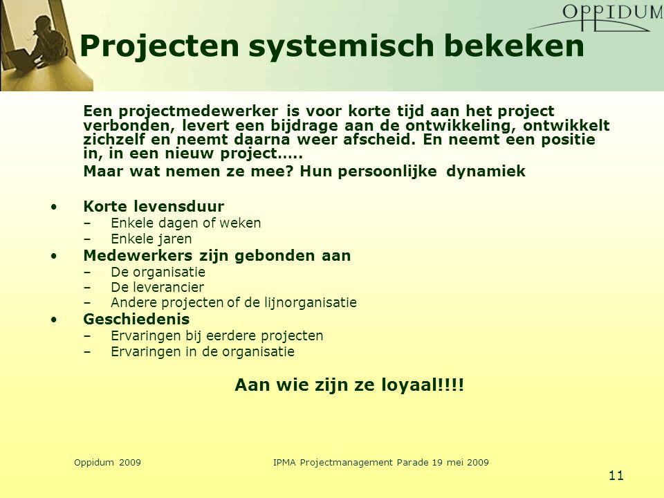 Oppidum 2009IPMA Projectmanagement Parade 19 mei 2009 11 Projecten systemisch bekeken Een projectmedewerker is voor korte tijd aan het project verbond