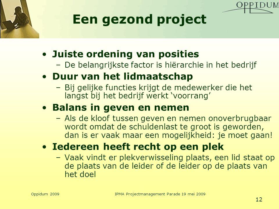 Oppidum 2009IPMA Projectmanagement Parade 19 mei 2009 12 Een gezond project Juiste ordening van posities –De belangrijkste factor is hiërarchie in het