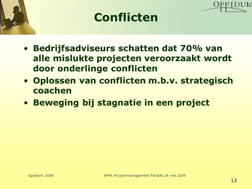 Oppidum 2009IPMA Projectmanagement Parade 19 mei 2009 13 Conflicten Bedrijfsadviseurs schatten dat 70% van alle mislukte projecten veroorzaakt wordt d