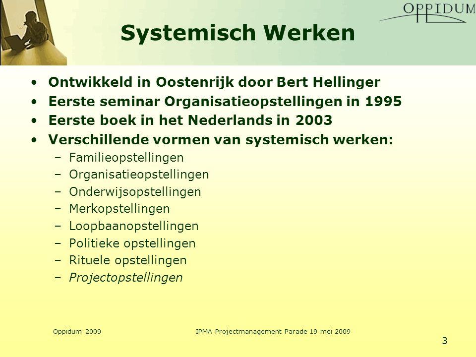 Oppidum 2009IPMA Projectmanagement Parade 19 mei 2009 3 Systemisch Werken Ontwikkeld in Oostenrijk door Bert Hellinger Eerste seminar Organisatieopste