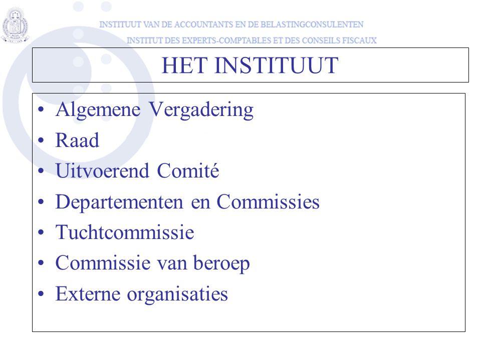 HET INSTITUUT Algemene Vergadering Raad Uitvoerend Comité Departementen en Commissies Tuchtcommissie Commissie van beroep Externe organisaties