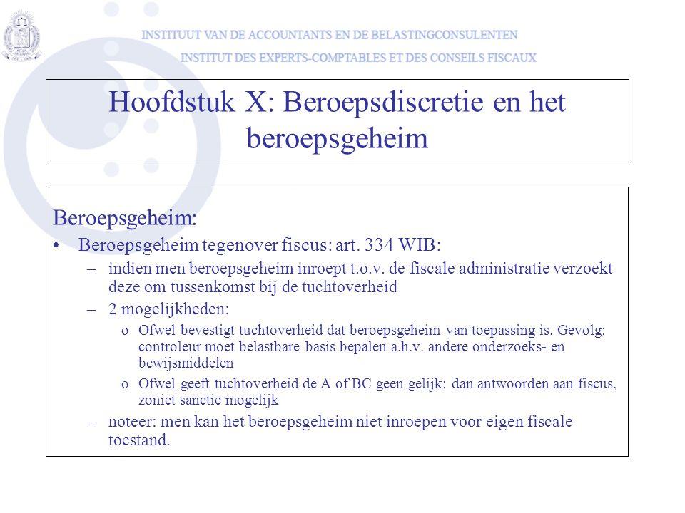 Beroepsgeheim: Beroepsgeheim tegenover fiscus: art. 334 WIB: –indien men beroepsgeheim inroept t.o.v. de fiscale administratie verzoekt deze om tussen
