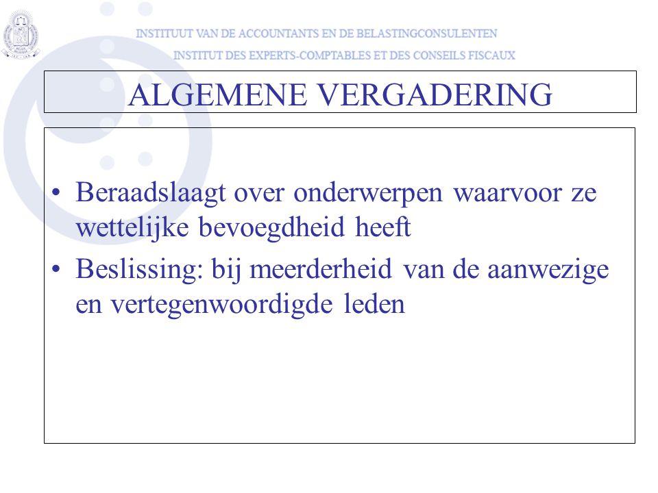 Beraadslaagt over onderwerpen waarvoor ze wettelijke bevoegdheid heeft Beslissing: bij meerderheid van de aanwezige en vertegenwoordigde leden ALGEMEN
