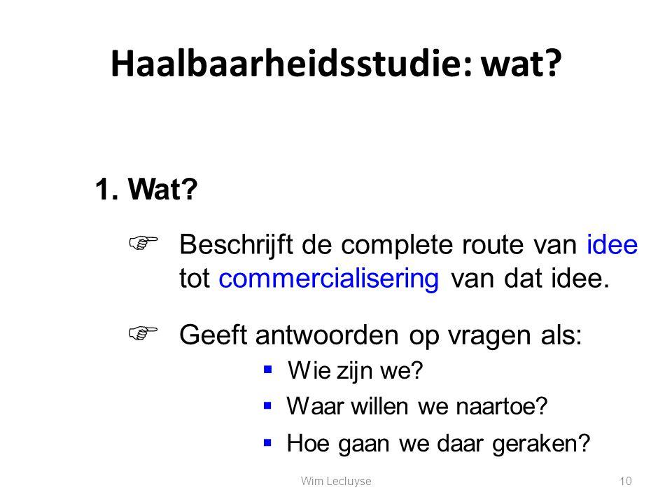 Haalbaarheidsstudie: wat? Beschrijft de complete route van idee tot commercialisering van dat idee. 1. Wat?  Geeft antwoorden op vragen als:   Wie