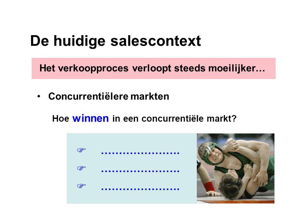 De huidige salescontext Hoe winnen in een concurrentiële markt?       …………………. Concurrentiëlere markten Het verkoopproces verloopt steeds moeili