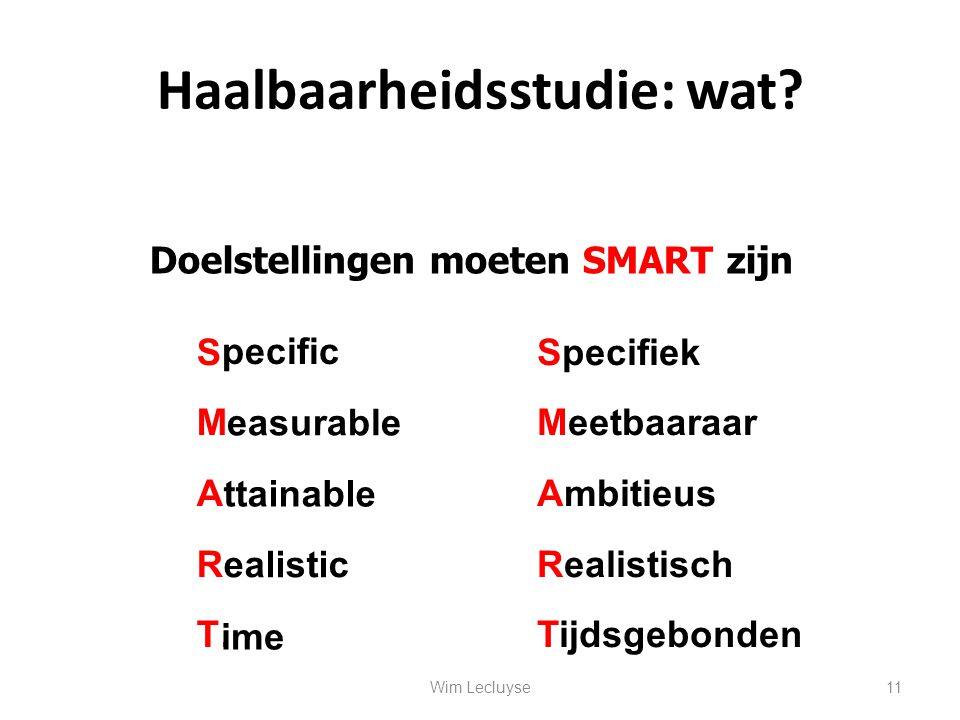 Haalbaarheidsstudie: wat? Doelstellingen moeten SMART zijn S………. M…………. A…………. R………… T…… pecific easurable ttainable ealistic ime Specifiek Meetbaaraa