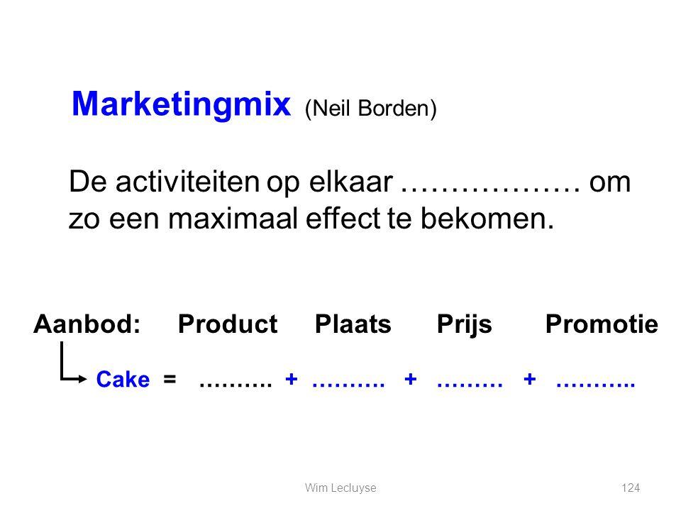 Marketingmix De activiteiten op elkaar ……………… om zo een maximaal effect te bekomen. Aanbod: Product Plaats Prijs Promotie Cake = ………. + ………. + ……… + …