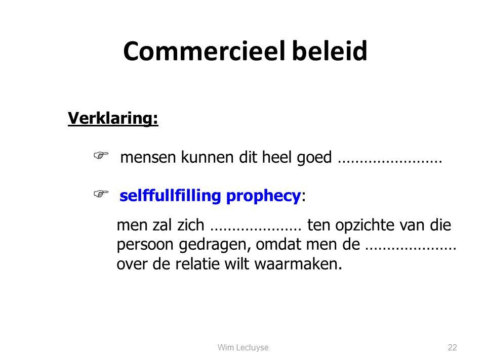 Commercieel beleid Verklaring:  mensen kunnen dit heel goed ……………………  selffullfilling prophecy: men zal zich ………………… ten opzichte van die persoon ge
