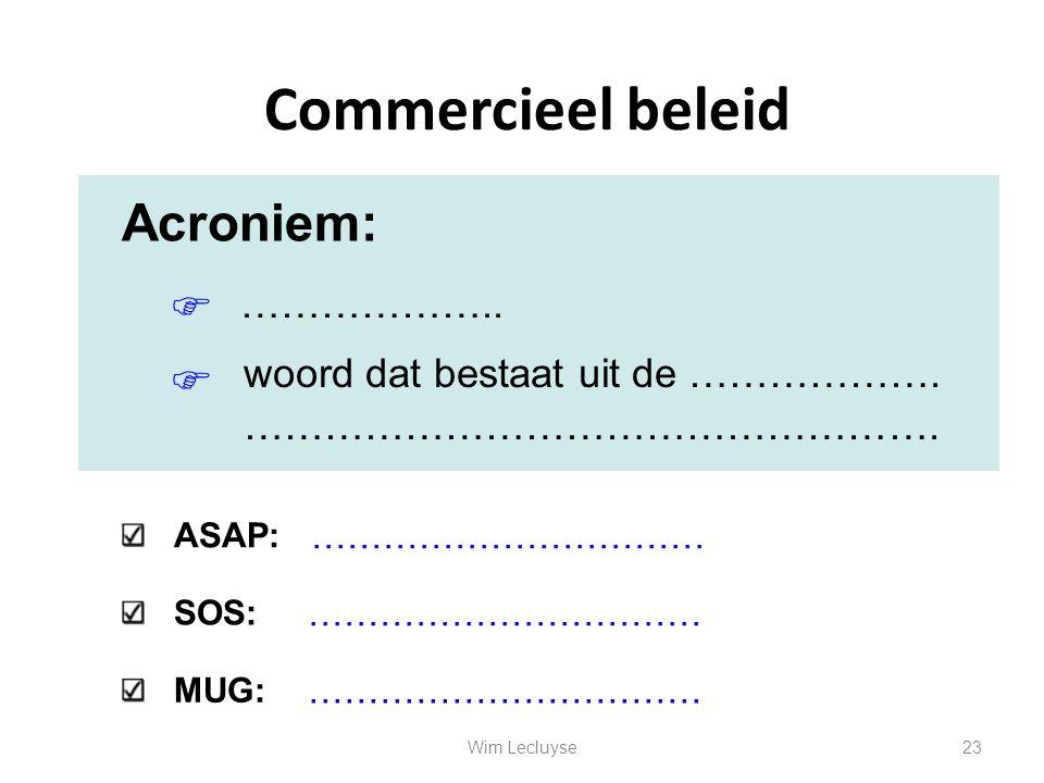 Commercieel beleid Acroniem:     ……………….. woord dat bestaat uit de ………………. ……………………………………………. ASAP: SOS: MUG: …………………………… 23Wim Lecluyse