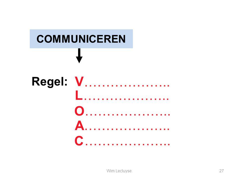 COMMUNICEREN Regel: V C A O ……………….. L 27Wim Lecluyse