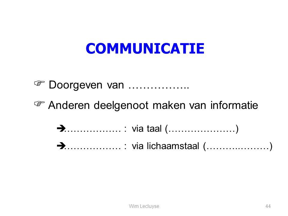 COMMUNICATIE  Doorgeven van ……………..  Anderen deelgenoot maken van informatie  ……………… : via taal (…………………)  ……………… : via lichaamstaal (………..………) 44