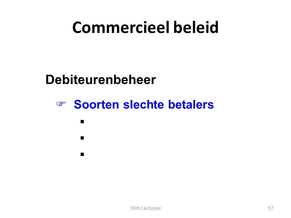 Commercieel beleid       Debiteurenbeheer  Soorten slechte betalers 57Wim Lecluyse