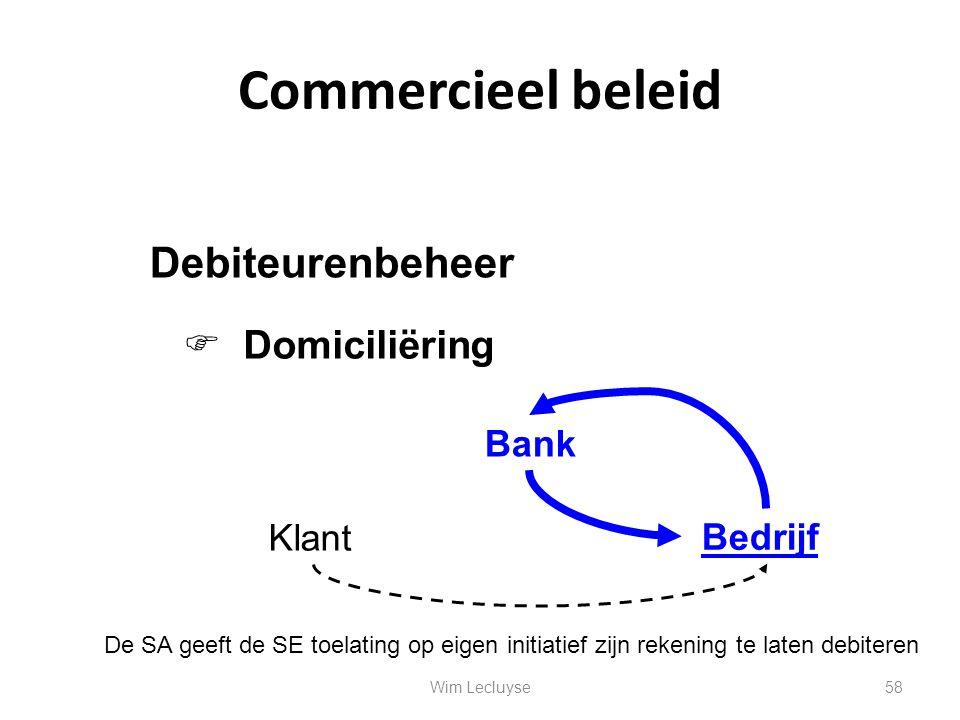 Commercieel beleid  Domiciliëring Debiteurenbeheer Klant Bank Bedrijf De SA geeft de SE toelating op eigen initiatief zijn rekening te laten debitere