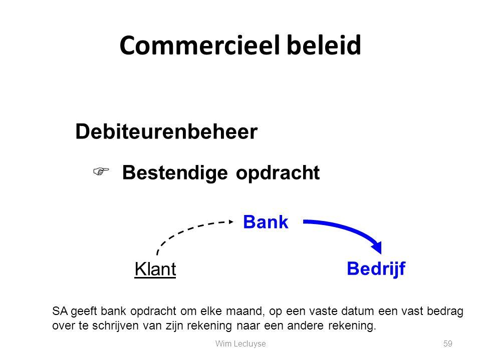 Commercieel beleid Debiteurenbeheer Klant Bank Bedrijf SA geeft bank opdracht om elke maand, op een vaste datum een vast bedrag over te schrijven van