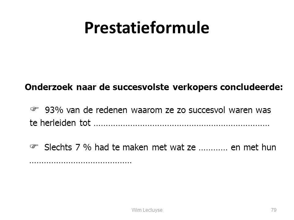 Prestatieformule Onderzoek naar de succesvolste verkopers concludeerde:  93% van de redenen waarom ze zo succesvol waren was te herleiden tot …………………