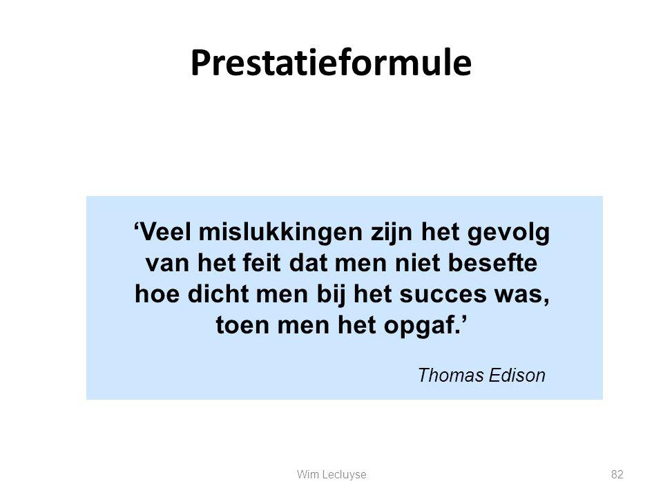 Prestatieformule 'Veel mislukkingen zijn het gevolg van het feit dat men niet besefte hoe dicht men bij het succes was, toen men het opgaf.' Thomas Ed