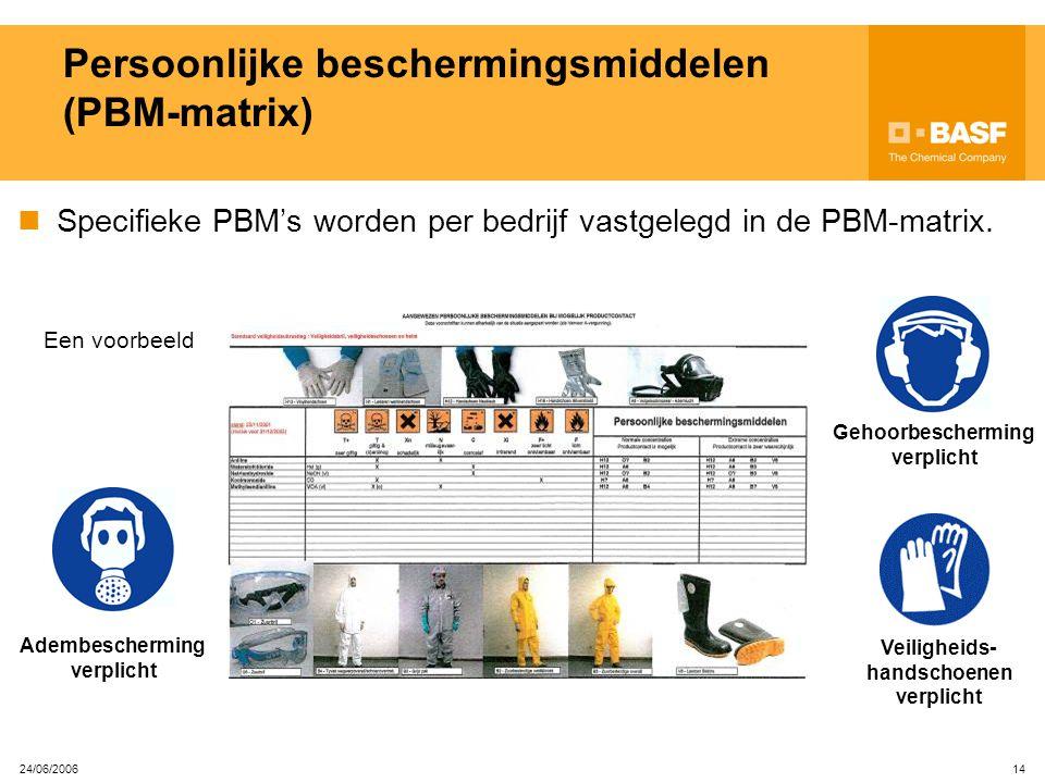 24/06/2006 13 Persoonlijke beschermingsmiddelen (PBM's) PBM's, door je werkgever voorzien, dienen om je te beschermen tegen restrisico's. Iedereen in