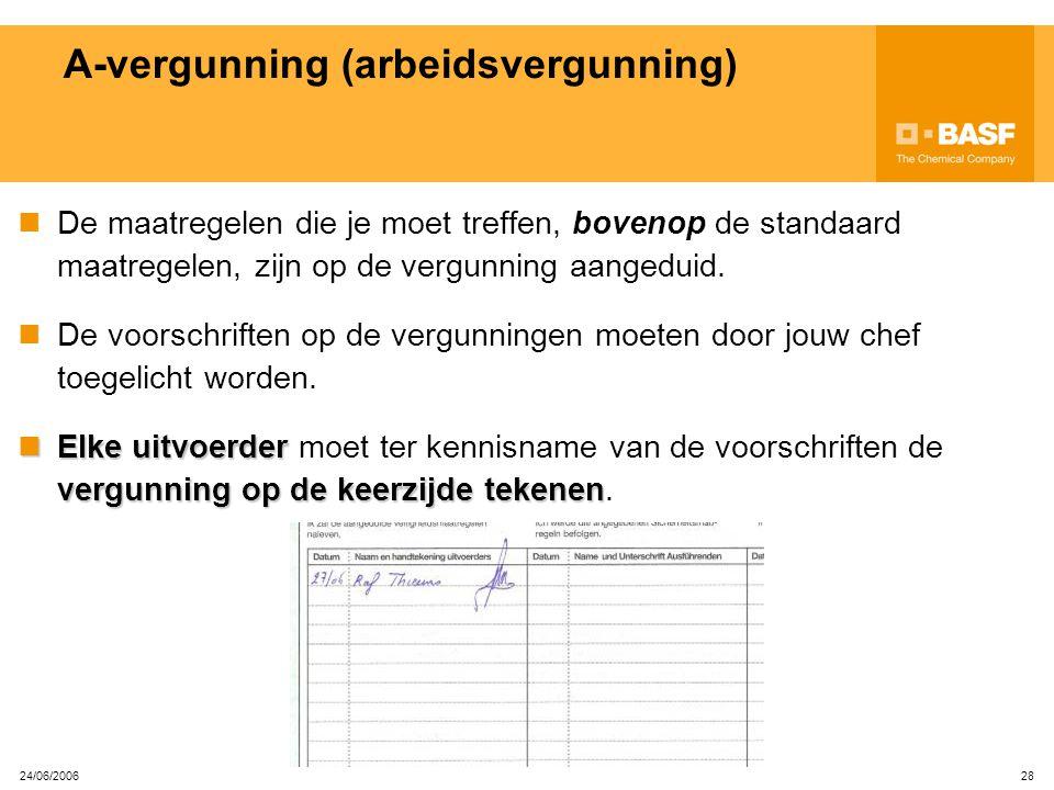 24/06/2006 27 A-vergunning (arbeidsvergunning) De A-vergunning is noodzakelijk voor elk werk dat je uitvoert op de site!