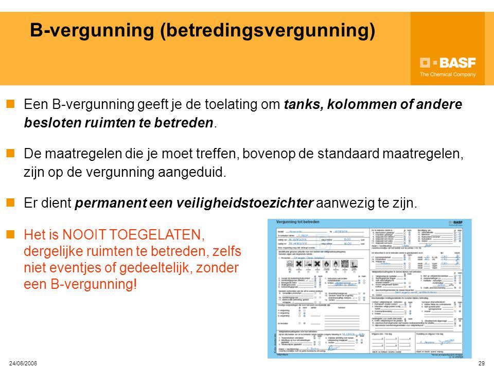 24/06/2006 28 A-vergunning (arbeidsvergunning) De maatregelen die je moet treffen, bovenop de standaard maatregelen, zijn op de vergunning aangeduid.