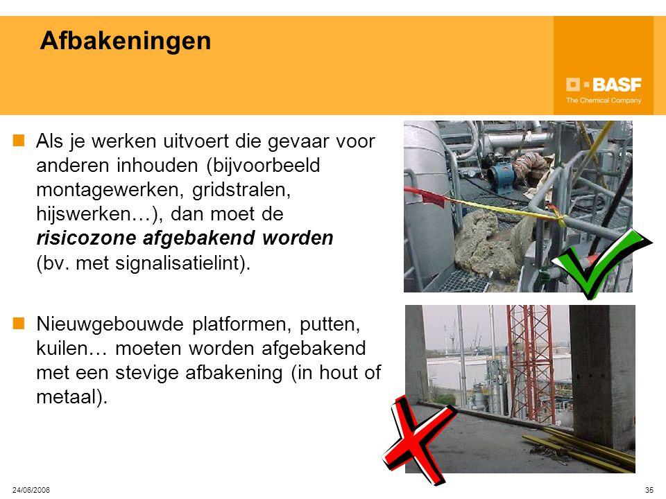24/06/2006 34 Elektrische machines en kabels Toestellen met beschadigde kabels vormen een groot elektrocutie- gevaar en mogen nooit gebruikt worden. E