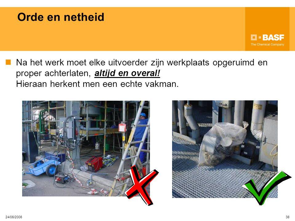 24/06/2006 37 Bescherming tegen vallen Bij werkzaamheden op hoogte moet je je beschermen tegen vallen. Bij voorkeur moeten collectieve beschermingsmid