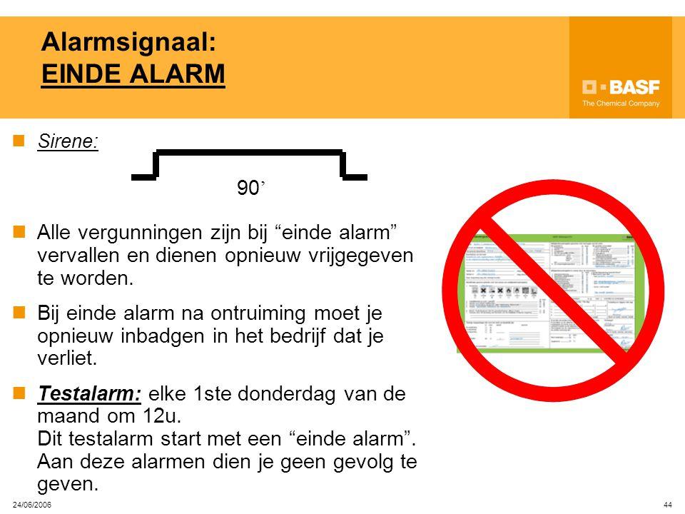 24/06/2006 43 Herkenbaarheid 'bedrijf in alarm' Wanneer een bedrijf in alarm is, brandt een oranje flitslamp op de IN-lezer Begeef je dan onmiddellijk