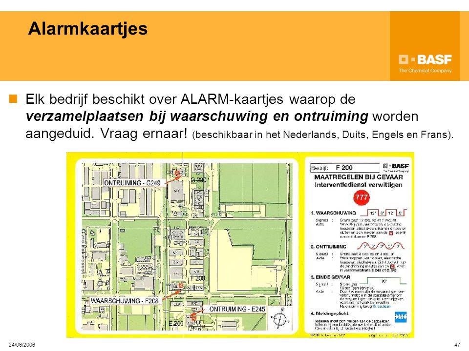 24/06/2006 46 STOP ALARM-zuilen op het terrein Wanneer op een alarmzuil, het rode zwaailicht brandt en de vermelding 'STOP ALARM' verschijnt: Stop je