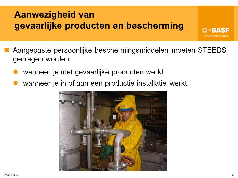 24/06/2006 5 Aanwezigheid van gevaarlijke producten Onze installaties bevatten vele gevaarlijke producten. De gevaarlijke producten worden aangeduid d