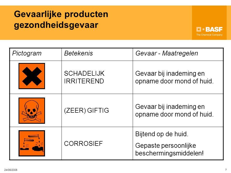 24/06/2006 6 Aanwezigheid van gevaarlijke producten en bescherming Aangepaste persoonlijke beschermingsmiddelen moeten STEEDS gedragen worden: wanneer