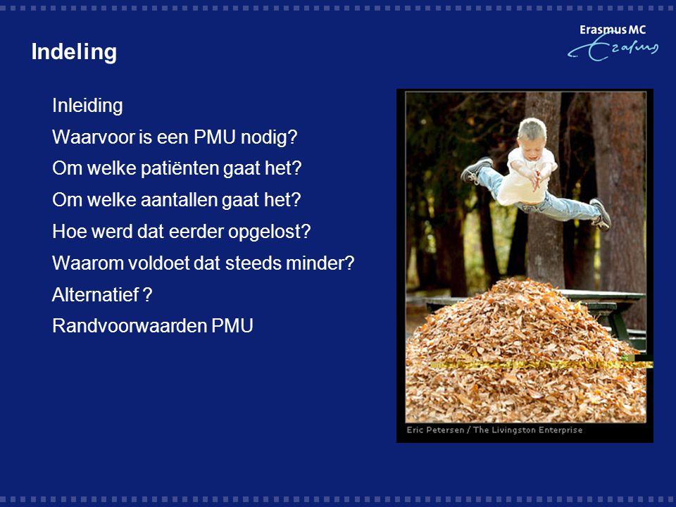 Indeling Inleiding Waarvoor is een PMU nodig? Om welke patiënten gaat het? Om welke aantallen gaat het? Hoe werd dat eerder opgelost? Waarom voldoet d