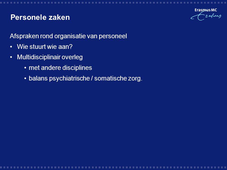 Personele zaken Afspraken rond organisatie van personeel Wie stuurt wie aan? Multidisciplinair overleg met andere disciplines balans psychiatrische /