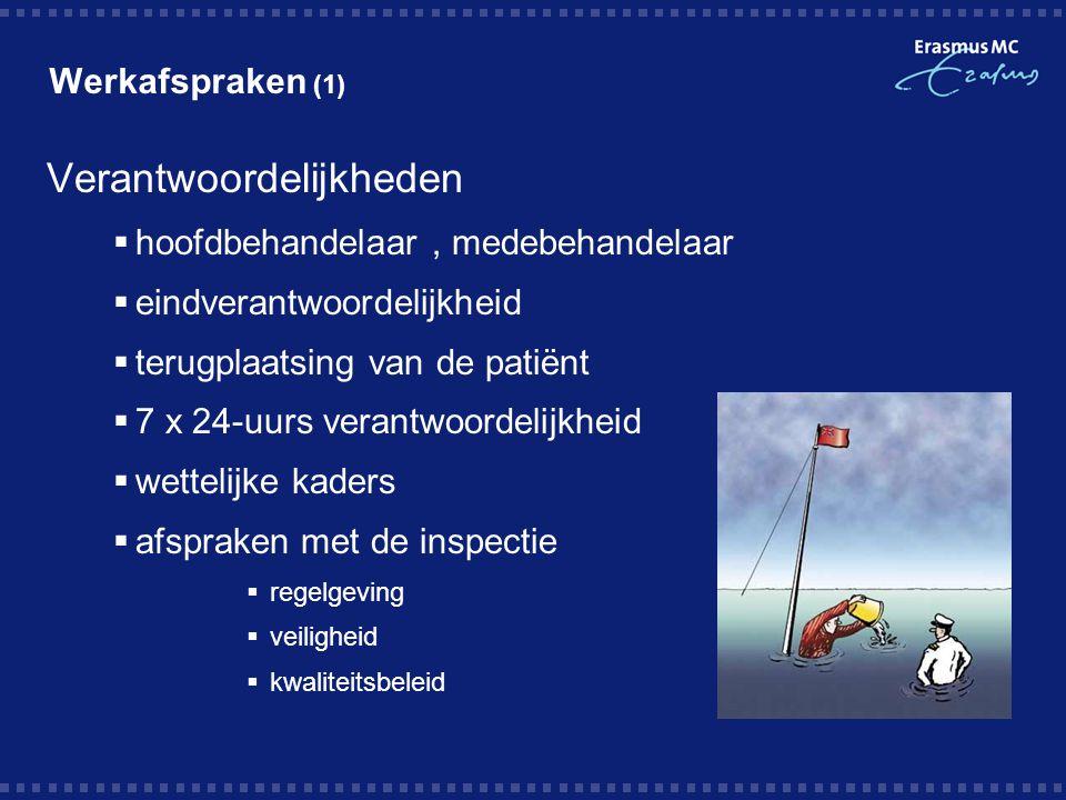 Werkafspraken (1) Verantwoordelijkheden  hoofdbehandelaar, medebehandelaar  eindverantwoordelijkheid  terugplaatsing van de patiënt  7 x 24-uurs v