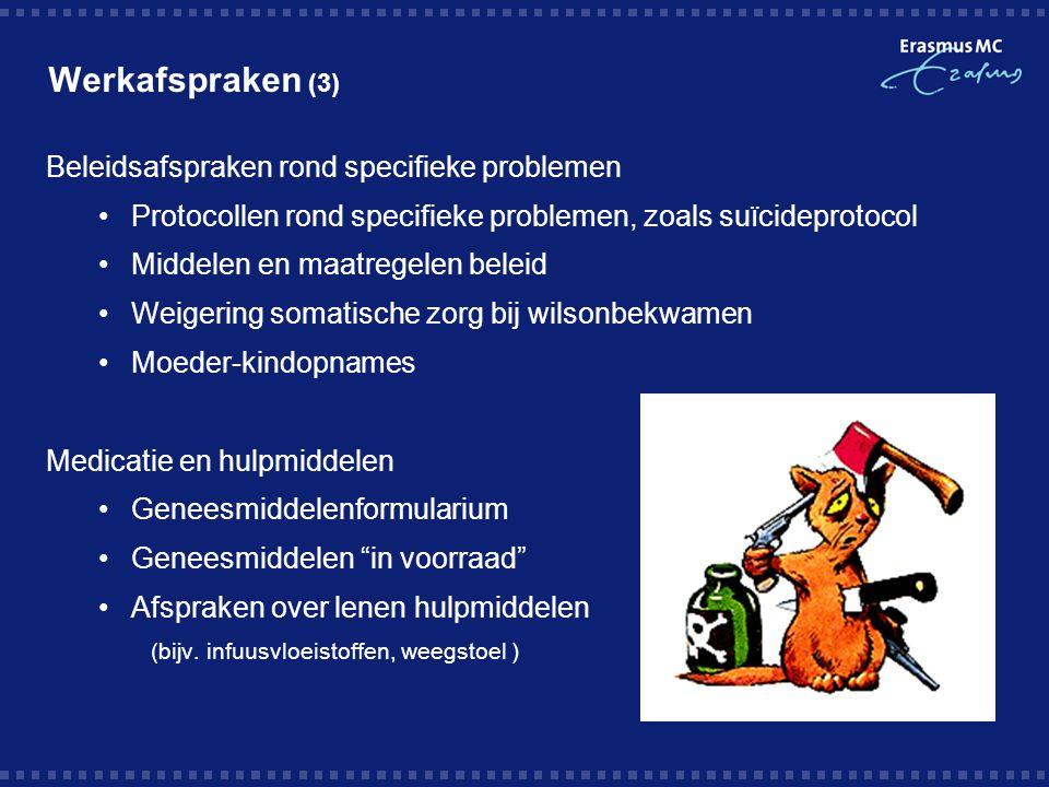 Werkafspraken (3) Beleidsafspraken rond specifieke problemen Protocollen rond specifieke problemen, zoals suïcideprotocol Middelen en maatregelen bele