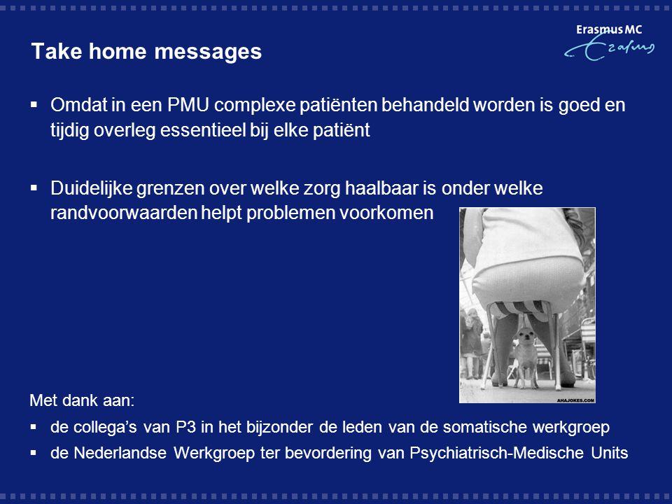 Take home messages  Omdat in een PMU complexe patiënten behandeld worden is goed en tijdig overleg essentieel bij elke patiënt  Duidelijke grenzen o