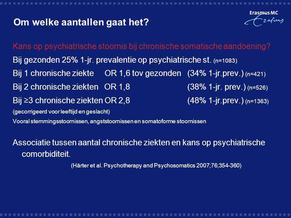 Om welke aantallen gaat het? Kans op psychiatrische stoornis bij chronische somatische aandoening? Bij gezonden 25% 1-jr. prevalentie op psychiatrisch