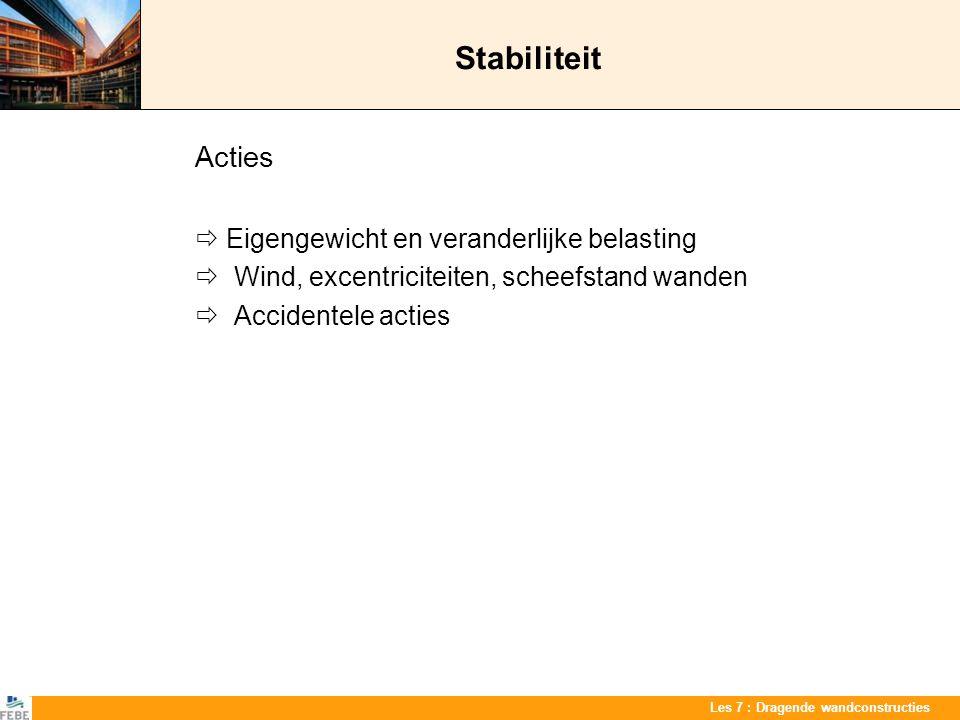 Les 7 : Dragende wandconstructies Stabiliteit Acties  Eigengewicht en veranderlijke belasting  Wind, excentriciteiten, scheefstand wanden  Accident