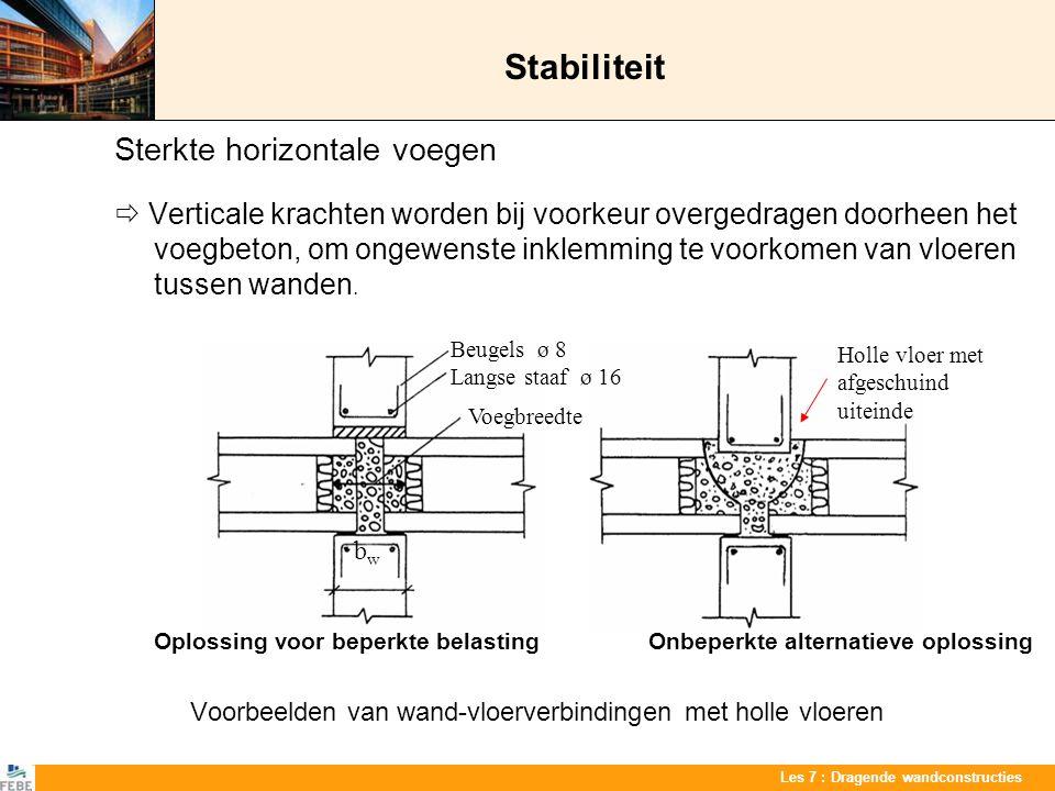 Les 7 : Dragende wandconstructies Stabiliteit Sterkte horizontale voegen  Verticale krachten worden bij voorkeur overgedragen doorheen het voegbeton,