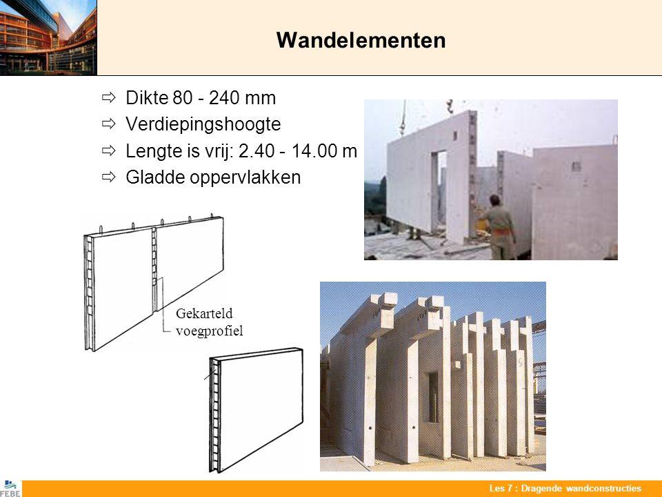 Les 7 : Dragende wandconstructies Wandelementen  Dikte 80 - 240 mm  Verdiepingshoogte  Lengte is vrij: 2.40 - 14.00 m  Gladde oppervlakken Gekarte