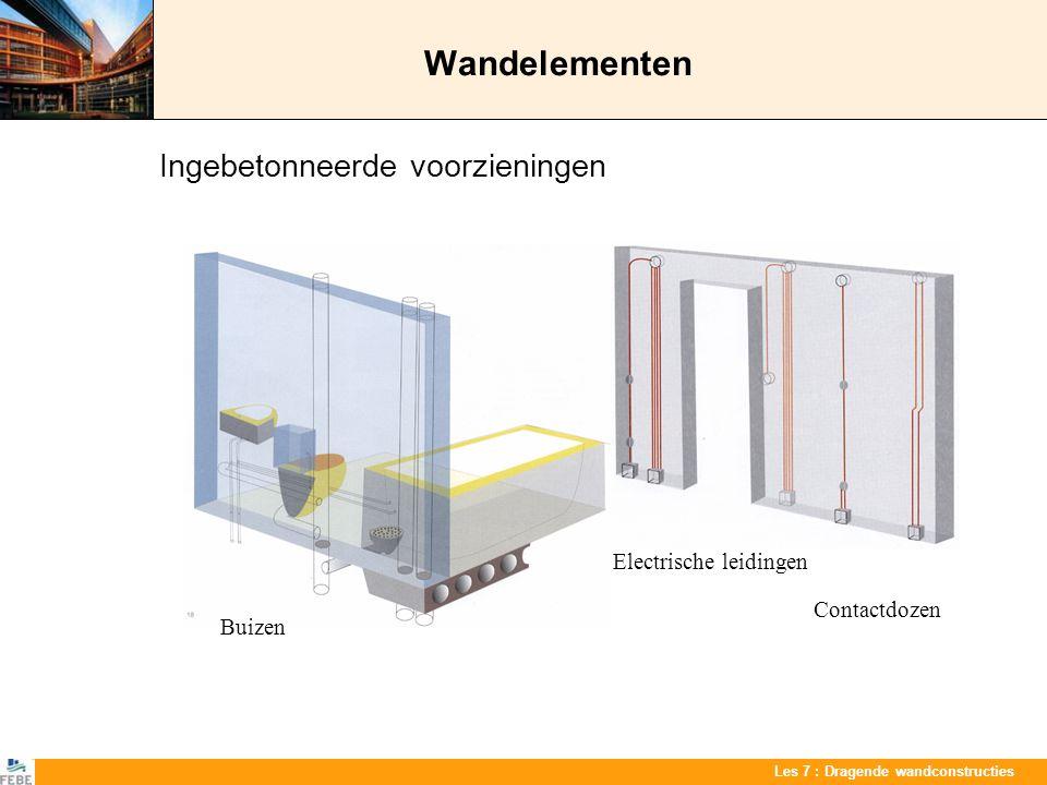 Les 7 : Dragende wandconstructies Wandelementen Ingebetonneerde voorzieningen Contactdozen Electrische leidingen Buizen