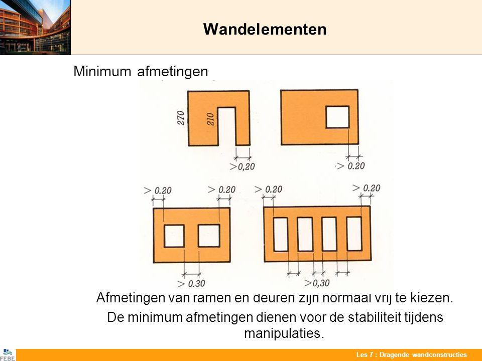 Les 7 : Dragende wandconstructies Wandelementen Minimum afmetingen Afmetingen van ramen en deuren zijn normaal vrij te kiezen. De minimum afmetingen d