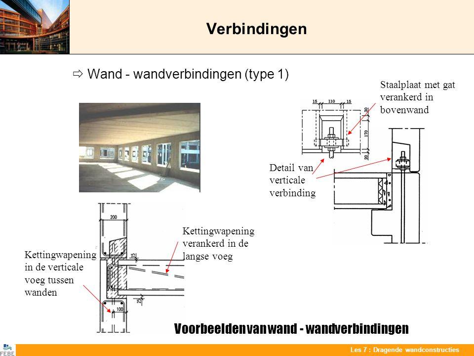 Les 7 : Dragende wandconstructies Verbindingen  Wand - wandverbindingen (type 1) Detail van verticale verbinding Staalplaat met gat verankerd in bove