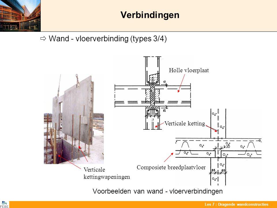 Les 7 : Dragende wandconstructies Verbindingen  Wand - vloerverbinding (types 3/4) Voorbeelden van wand - vloerverbindingen Verticale ketting Holle v