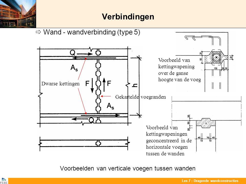 Les 7 : Dragende wandconstructies Verbindingen  Wand - wandverbinding (type 5) Voorbeelden van verticale voegen tussen wanden Dwarse kettingen Voorbe