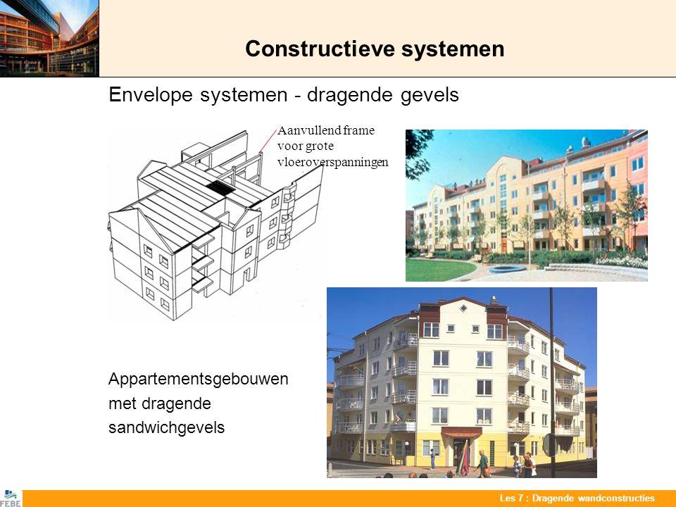 Les 7 : Dragende wandconstructies Constructieve systemen Combinatie van systemen Gebouw met ondergrondse garage, een winkel op het gelijkvloers en appartementen op de bovenverdiepingen Typische verdiepingsplan van het appartementsgebouw Dragende wanden voor de appartementen Skeletconstructie in de ondergrond en op het gelijkvloers Dragende wanden Staalbalk