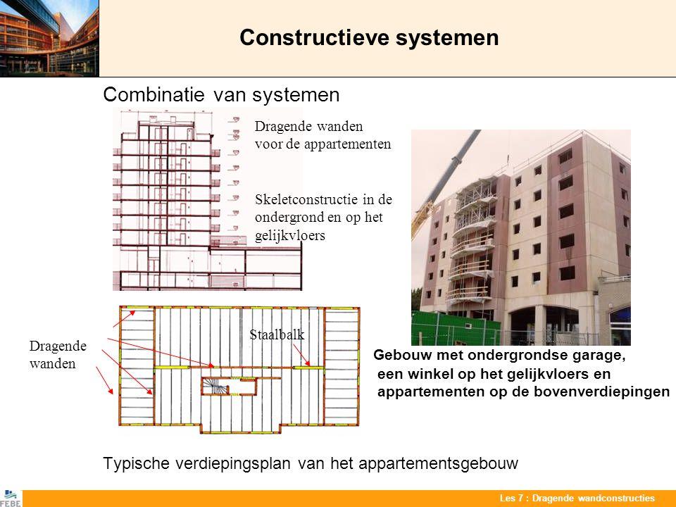 Les 7 : Dragende wandconstructies Constructieve systemen Combinatie van systemen Gebouw met ondergrondse garage, een winkel op het gelijkvloers en app