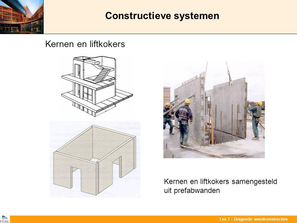 Les 7 : Dragende wandconstructies Constructieve systemen Kernen en liftkokers Kernen en liftkokers samengesteld uit prefabwanden